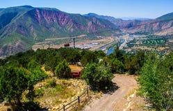 Sistema di fiume del tram della montagna di Glenwood Springs Colorado Fotografia Stock