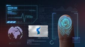 Sistema di identificazione d'esplorazione biometrico dell'impronta digitale Bandiera di unificazione della nazionalità della Core immagine stock libera da diritti
