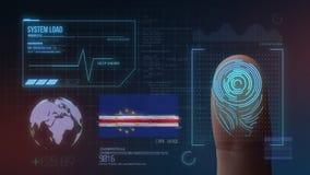 Sistema di identificazione d'esplorazione biometrico dell'impronta digitale Nazionalità di Capo Verde illustrazione di stock