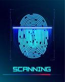 sistema di identificazione di esame della Inger-stampa Concetto biometrico di sicurezza di affari e di autorizzazione Illustrazio Immagine Stock