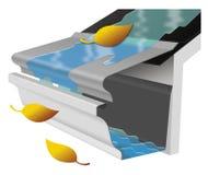 Sistema di protezione di pulizia della grondaia Fotografie Stock Libere da Diritti