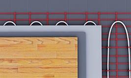 Sistema di riscaldamento del pavimento Vediamo gli strati di isolamento per riscaldare 3 Immagini Stock