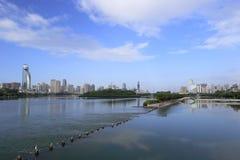 Sistema di scambio dell'acqua del lago del yuandang Fotografia Stock
