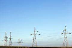 Sistema di trasmissione di elettricità Immagini Stock Libere da Diritti