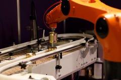 Sistema di trasportatore con il braccio robot del posto e della scelta fotografia stock libera da diritti