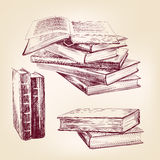 Sistema dibujado de la mano de libros viejos del vintage Foto de archivo libre de regalías