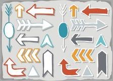 Sistema dibujado mano colorida de la flecha aislado en gris Fotografía de archivo