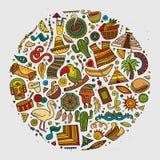 Sistema dibujado mano colorida de la historieta del garabato del vector de latinoamericano Imágenes de archivo libres de regalías