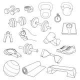 Sistema dibujado mano de accesorios de la aptitud Pesas de gimnasia, Imagen de archivo libre de regalías