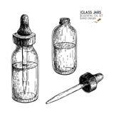 Sistema dibujado mano de aceites esenciales Mofa del vintage del vector para arriba Esencia medicinal en la botella de cristal de Foto de archivo