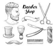 Sistema dibujado mano de Barber Shop del vintage del vector Vector detallado ilustración del vector