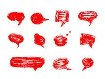 Sistema dibujado mano de burbujas del discurso stock de ilustración
