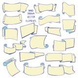 Sistema dibujado mano de diversas cintas Diseñe los elementos para las tarjetas de felicitación, banderas, invitaciones Bosquejo, ilustración del vector