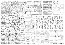 Sistema dibujado mano de elementos del diseño Foto de archivo libre de regalías