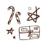 Sistema dibujado mano de elementos de la Navidad ilustración del vector