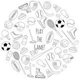 Sistema dibujado mano de equipo de deporte Imagen de archivo