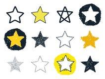 Sistema dibujado mano de estrellas Imágenes de archivo libres de regalías