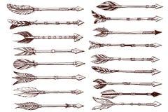 Sistema dibujado mano de flechas étnicas Foto de archivo