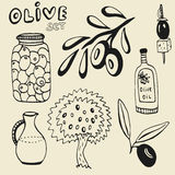 Sistema dibujado mano de la aceituna Sistema de los elementos Aceitunas, aceite de oliva, rama y árbol en fondo Imagenes de archivo