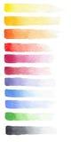 Sistema dibujado mano de la acuarela de los movimientos del descoloramiento de diversos colores Fotos de archivo