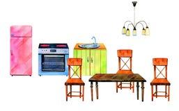 Sistema dibujado mano de la acuarela del interior estilizado de la cocina Horno, refrigirator, tabla y sillas ilustración del vector