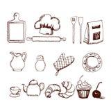 Sistema dibujado mano de la cocina Fotos de archivo libres de regalías