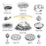 Sistema dibujado mano de la comida de la acción de gracias del vector Imagenes de archivo