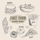 Sistema dibujado mano de la comida rápida Ilustración creativa del vector Imagen de archivo libre de regalías