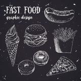 Sistema dibujado mano de la comida rápida Ilustración creativa del vector Imagen de archivo