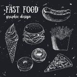 Sistema dibujado mano de la comida rápida Ilustración creativa del vector Imágenes de archivo libres de regalías