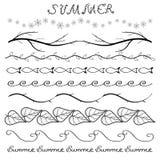 Sistema dibujado mano de la frontera del verano Imagen de archivo