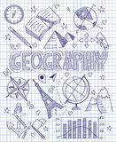 Sistema dibujado mano de la geografía stock de ilustración