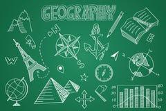 Sistema dibujado mano de la geografía Tiza en la pizarra stock de ilustración