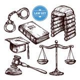 Sistema dibujado mano de la ley ilustración del vector