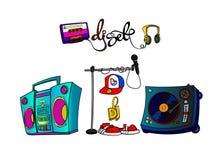 Sistema dibujado mano de la música de DJ Ilustración del Vector