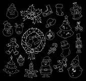 Sistema dibujado mano de la Navidad Imagen de archivo libre de regalías