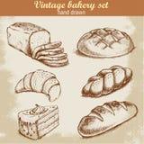 Sistema dibujado mano de la panadería del estilo del bosquejo del vintage Fotos de archivo libres de regalías