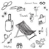 Sistema dibujado mano de la playa del verano Foto de archivo libre de regalías