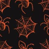 Sistema dibujado mano de las cualidades de Halloween, de los web anaranjados y de las arañas en un fondo gris Foto de archivo libre de regalías