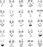 Sistema dibujado mano de las emociones de la cara de la historieta Fotos de archivo libres de regalías