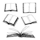 Sistema dibujado mano de libros ilustración del vector