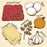 Sistema dibujado mano de los ingredientes de las lasañas Fotografía de archivo