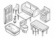 Sistema dibujado mano de los muebles Imagen de archivo