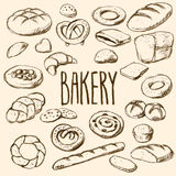 Sistema dibujado mano de los panes y de los pasteles Imágenes de archivo libres de regalías