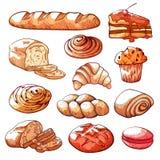 Sistema dibujado mano de los productos de la panadería y de pasteles stock de ilustración