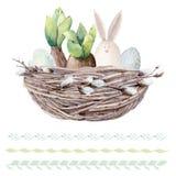 Sistema dibujado mano de Pascua de la acuarela Foto de archivo libre de regalías