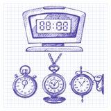 Sistema dibujado mano de relojes y de relojes Imagen de archivo