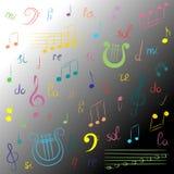 Sistema dibujado mano de símbolos de música Clave de sol, Bass Clef, notas y lira coloridos del garabato en fondo monocromático E Imagen de archivo