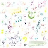 Sistema dibujado mano de símbolos de música Clave de sol, Bass Clef, notas y lira coloridos del garabato Estilo del bosquejo Imagen de archivo