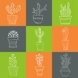 Sistema dibujado mano del cactus en los potes Foto de archivo libre de regalías